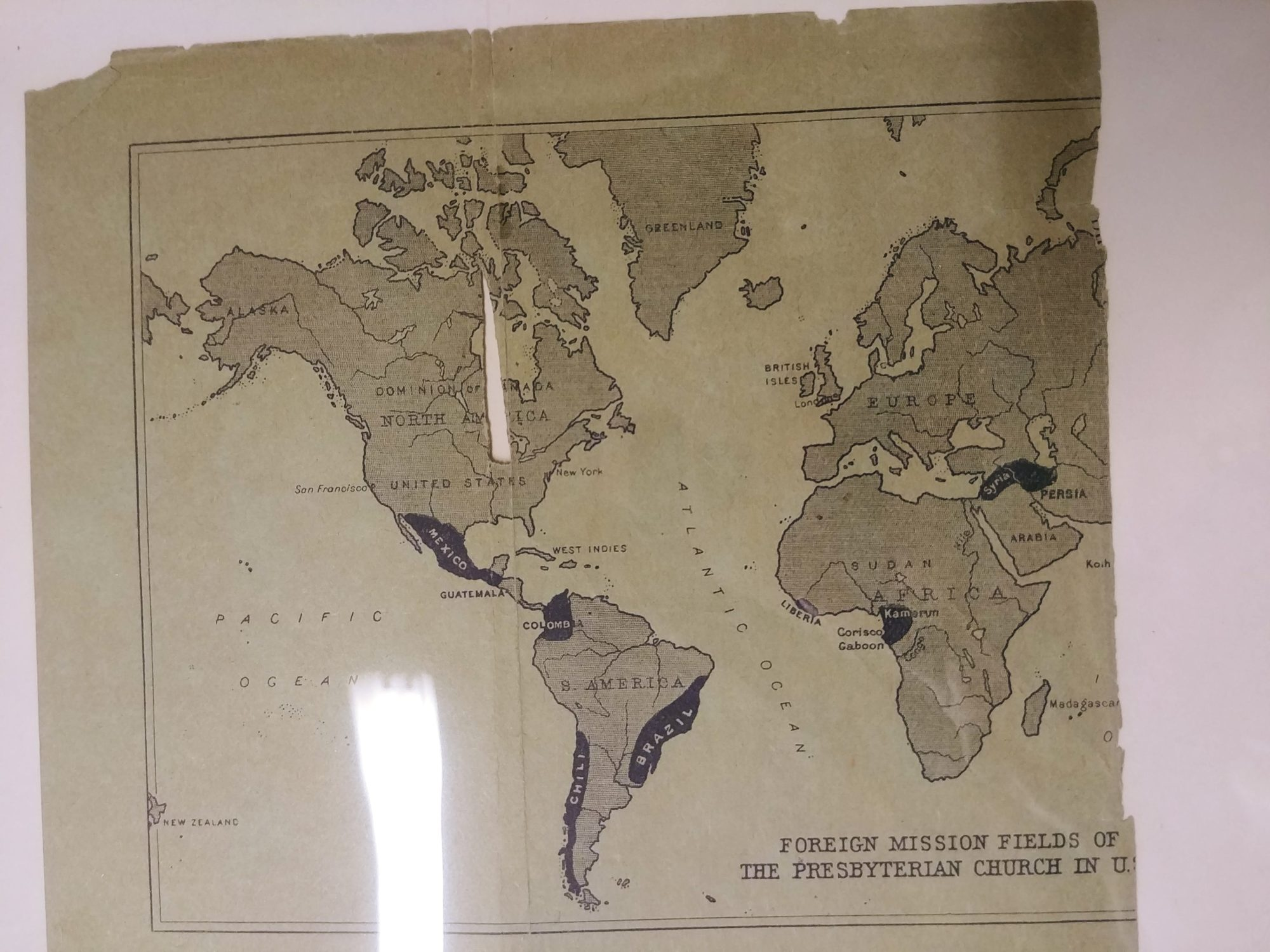 image early 20th century map of Presbyterian Mission Fields around the world